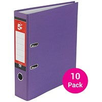 5 Star A4 Lever Arch Files / Purple / Pack of 10