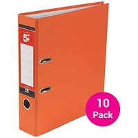 5 Star A4 Lever Arch Files, Orange, Pack of 10