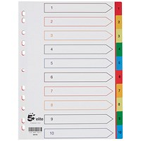 5 Star Elite Plastic Index Dividers, 1-10, Multicoloured Tabs, A4, White