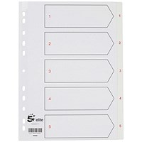 5 Star Elite Plastic Index Dividers, 1-5, White Tabs, A4, White