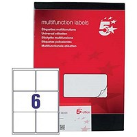 5 Star Laser and Inkjet Labels, 6 per Sheet, 99x93mm, White, 600 Labels