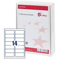 5 Star Multipurpose Laser Labels, 14 per Sheet, 99x38mm, White, 7000 Labels