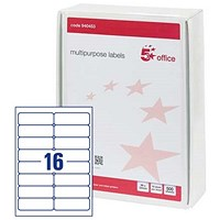 5 Star Multipurpose Laser Labels, 16 per Sheet, 99x34mm, White, 8000 Labels