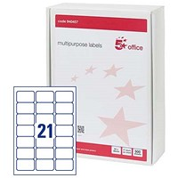 5 Star Multipurpose Laser Labels, 21 per Sheet, 64x38mm, White, 10500 Labels