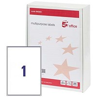 5 Star Multipurpose Laser Labels, 1 per Sheet, 200x288mm, White, 500 Labels