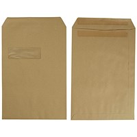 5 Star C4 Envelopes, Mediumweight, Self Seal, Window, 90gsm, Manilla, Pack of 250