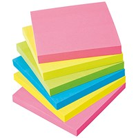 5 Star Extra Sticky Notes, 76x76mm, Assorted Neon, Pack of 6 x 90 Notes