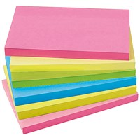 5 Star Extra Sticky Notes, 76x127mm, Assorted Neon, Pack of 6 x 90 Notes
