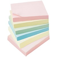 5 Star Extra Sticky Notes, 76x76mm, Assorted Pastel, Pack of 6 x 90 Notes