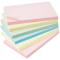 5 Star Extra Sticky Notes, 76x127mm, Assorted Pastel, Pack of 6 x 90 Notes
