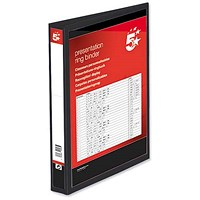 5 Star Presentation Binder, A4, 2 D-Ring, 25mm Capacity, Black, Pack of 10