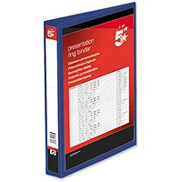 5 Star Presentation Binder, A4, 2 D-Ring, 25mm Capacity, Blue, Pack of 10