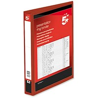 5 Star Presentation Binder, A4, 2 D-Ring, 25mm Capacity, Red, Pack of 10