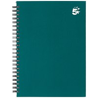 5 Star Hard Cover Wirebound Notebook, A5, Ruled, 140 Pages, Teal, Pack of 5