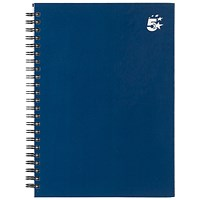 5 Star Hard Cover Wirebound Notebook, A5, Ruled, 140 Pages, Indigo, Pack of 5