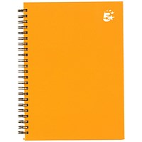 5 Star Hard Cover Wirebound Notebook, A5, Ruled, 140 Pages, Yellow, Pack of 5