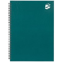 5 Star Hard Cover Wirebound Notebook, A4, Ruled, 140 Pages, Teal, Pack of 5