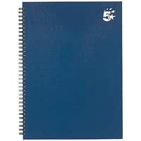 5 Star Hard Cover Wirebound Notebook, A4, Ruled, 140 Pages, Indigo, Pack of 5