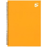 5 Star Hard Cover Wirebound Notebook, A4, Ruled, 140 Pages, Yellow, Pack of 5
