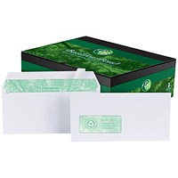 Basildon Bond Recycled DL Envelopes, Window, White, Peel & Seal, 120gsm, Pack of 500