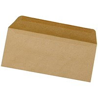 5 Star Plain DL Envelopes, Manilla, Gummed, 75gsm, Pack of 1000