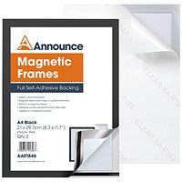 Announce Magnetic Frame A4 Black (Pack of 2) AA01846