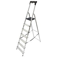 Werner Aluminium High Handrail 7 Tread Step Ladder 7410718
