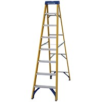 Abru Fibreglass Swingback Step Ladder 8 Tread Yellow 7160818
