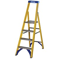 Abru Fibreglass Platform Stepladder 4 Tread Yellow 7170418