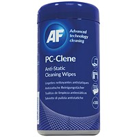 AF PC-Clene Anti-Static Cleaning Wipes Tub (Pack of 100)