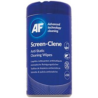 AF Screen-Clene Anti-Static Screen Wipes Tub (Pack of 100)