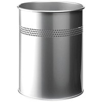 Durable Round Bin, Metal, Perforated, 15 Litres, Metallic Silver