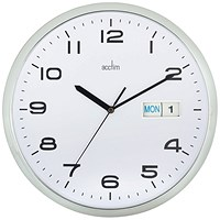 Acctim Supervisor Wall Clock with Date, 320mm Diameter, Chrome, White
