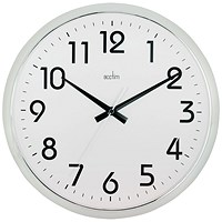 Acctim Orion Silent Sweep Wall Clock 320mm Chrome/White