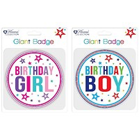 Giftmaker Giant Girl and Boy Birthday Badge (Pack of 12)
