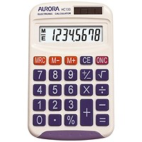 Aurora Handheld Calculator, 8 Digit, 3 Key, Solar and Battery Power, White
