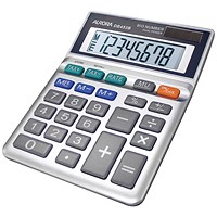 Aurora Semi-desk Calculator, 8 Digit, 3 Key, Battery/Solar Power, Grey