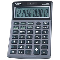 Aurora Semi-desk Calculator, 12 Digit, 3 Key, Battery/Solar Power, Silver