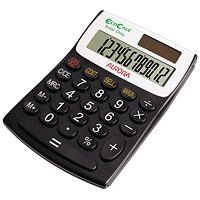 Aurora EcoCalc Desktop Calculator, 12 Digit, Solar Powered, Recycled, Black