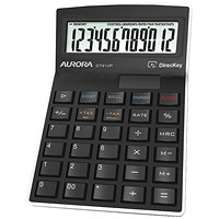 Aurora Semi-desk Calculator, 12 Digit, 3 Key, Battery/Solar Power, Black