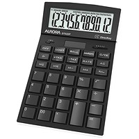 Aurora Black 12-Digit Desk Calculator DT920P