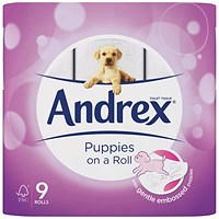 Andrex Puppies on a Roll Toilet Roll, Pack of 9