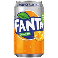 Fanta Orange Zero Cans 330ml - Pack of 24