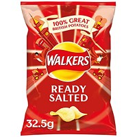 Walkers Ready Salted Crisps 32.5g (Pack of 32)