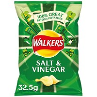 Walkers Salt and Vinegar Crisps 32.5g (Pack of 32)