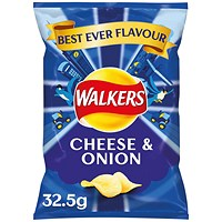 Walkers Cheese and Onion Crisps 32.5g (Pack of 32)