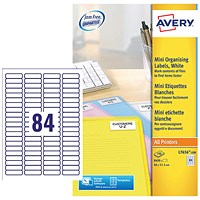 Avery Laser Mini Labels, 84 per Sheet, 46x11.1mm, White, L7656-100, 8400 Labels