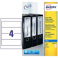 Avery Inkjet Filing Labels for Lever Arch File, 4 per Sheet, 200x60mm, J8171-25, 100 Labels