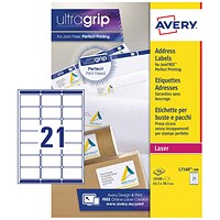 Avery Jam-free Laser Addressing Labels, 21 per Sheet, 63.5x38.1mm, White, L7160-500, 10500 Labels