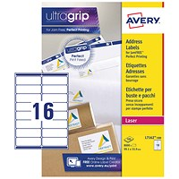 Avery Jam-free Laser Addressing Labels, 16 per Sheet, 99.1x33.9mm, White, L7162-500, 8000 Labels